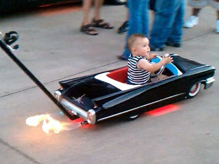 Flame Throwing Cadillac Baby Stroller Coolest Ever