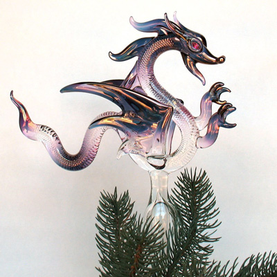 dragon tree topper a hand blown glass ornament made from borosilicate crystal and 24k gold